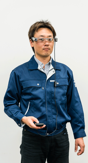 epson engineer wearing high resolution glass manufactured by Proto Labs using CNC machining