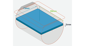 This design tip explores several CNC machining capabilities, including 5-axis (also known as 3+2 machining), as shown here. This illustrates the largest part extents maximizing the raw stock of material for a part width of 74mm and 5mm in height.