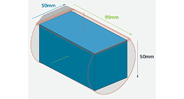 Illustrates how a 5-axis milled part fits within a block of material using maximum extents of 51mm width & 51mm height.