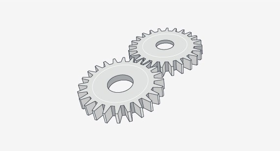 These plastic gears moving together show how a part design can be influenced by the friction and wear that occurs between surfaces interacting with one another, an important element to consider when selecting materials for your moulded parts.
