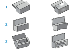 From left to right, Figure 1 represents a part designed with thick features and the resulting sink once moulded. Figure 2 also shows a part designed with thick features, but this time the warp that occurs once moulded. Image 3 demonstrates how coring out thick features helps create an optimally moulded part.