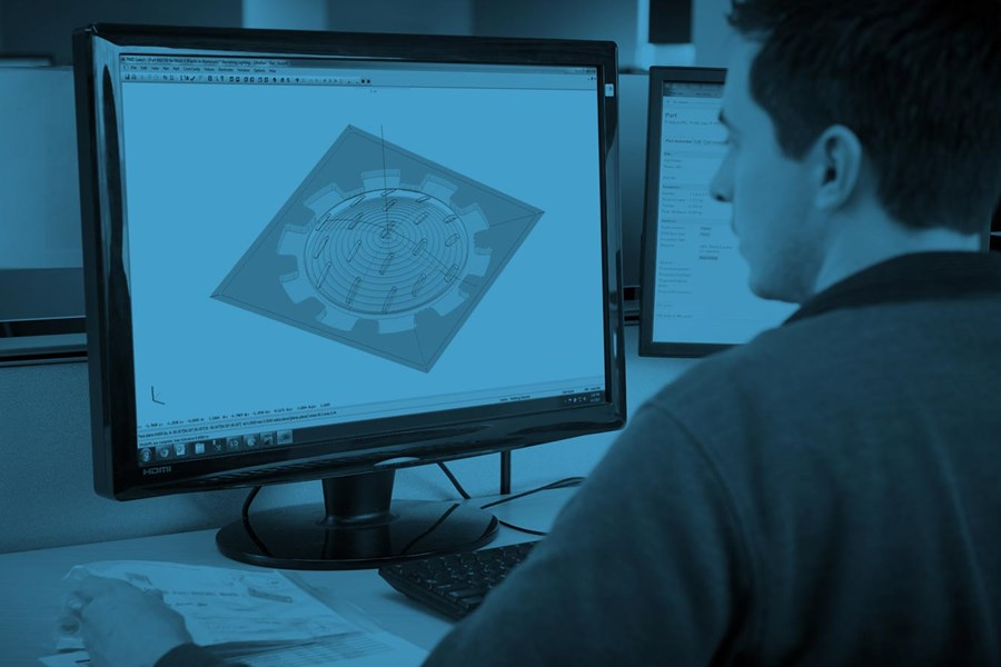 application engineer reviewing CAD file